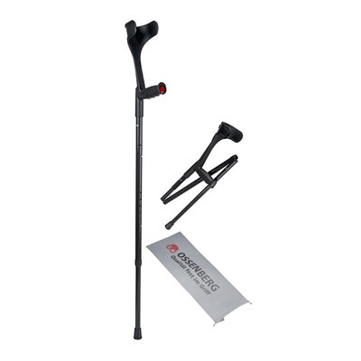 Ossenberg travel crutch carbon with soft handle foldable height adjustable
